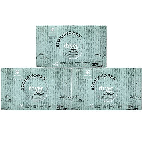 Grab Green Stoneworks Dryer Sheets, Naturally-Derived & Compostable, Free of Wax & Animal-Derived Ingredients, Fragrance Free Rain, 50 Sheets, 3-Pack