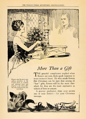 1922 Ad FTD Say It With Flowers Christmas Gift Women - Original Print Ad
