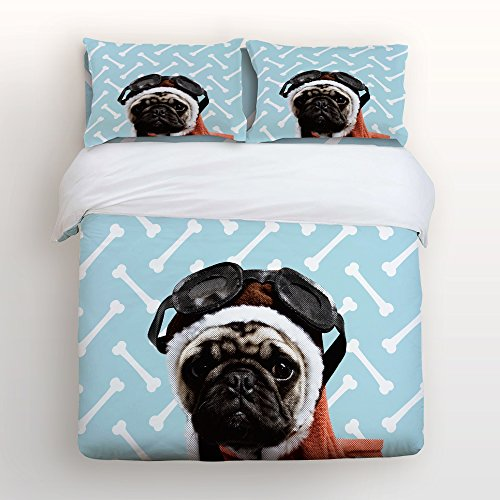 Libaoge 4 Piece Bed Sheets Set, Pug Dog Puppy Adorable Doggie with Bones Pattern, 1 Flat Sheet 1 Duvet Cover and 2 Pillow Cases