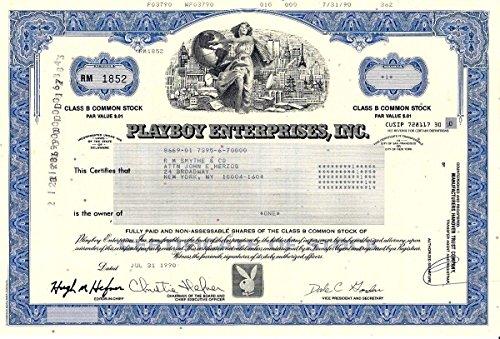 1990 RARE ORIGINAL PLAYBOY STOCK SIGNED BY HUGH HEFNER! SHORT-LIVED TYPE at 80% OFF COLLECTOR VALUE! 1 SHARE Crisp Uncirculated