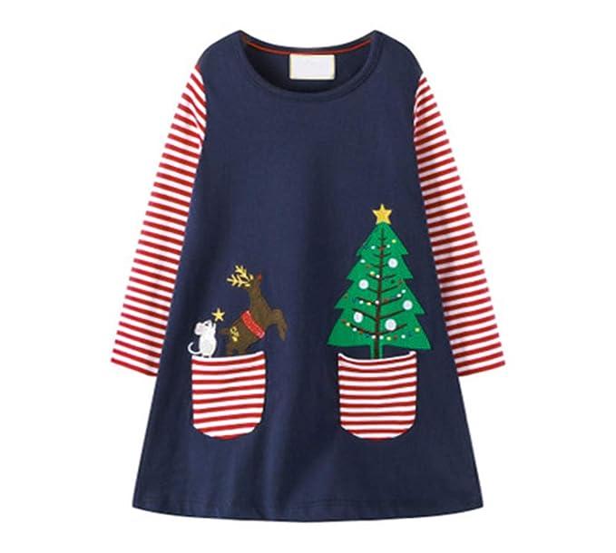 fd50fa1d3eb68 HILEELANG Toddler Girl Dress Stripe Long Sleeve Autumn Winter Cotton Basic  Dress 1-7 Year