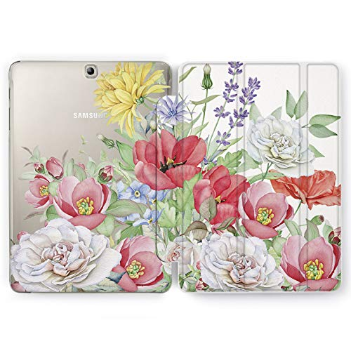 (Wonder Wild Colorful Flowers Samsung Galaxy Tab S4 S2 S3 A E Smart Stand Case 2015 2016 2017 2018 Tablet Cover 8 9.6 9.7 10 10.1 10.5 Inch Clear Design Poppies Decor Watercolor Nature Leaf Butterfly)