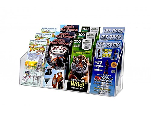 Marketing Holders Countertop Pamphlet Brochure Rack, 12 Tiered Pockets, Clear Acrylic 12 Pockets