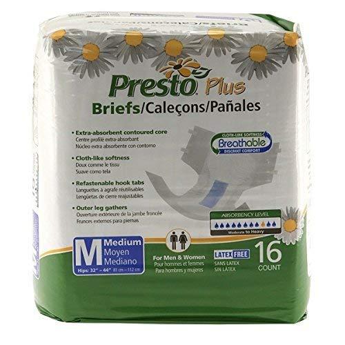 Presto Plus Breathable Brief, MD (6 bags of 16) (Presto Briefs)