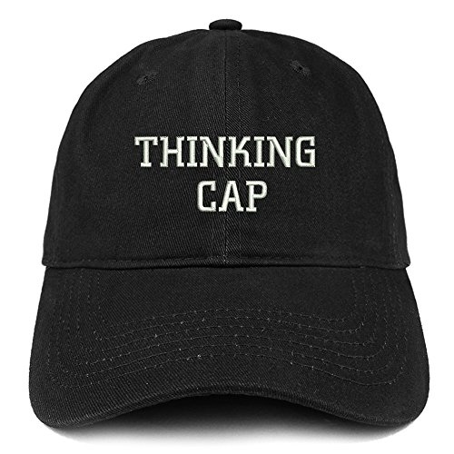 Trendy Apparel Shop Thinking Cap Embroidered Dad Hat Adjustable Cotton Baseball Cap - Black -