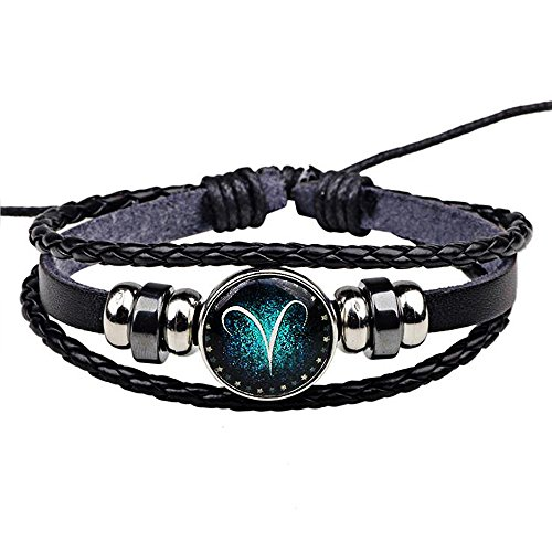 Jauxin Hand Woven Leather Retro Twelve Constellation Bracelet Aries (Owl Hemp)