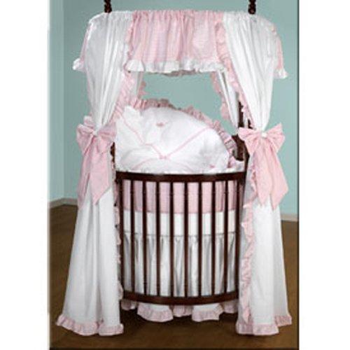 Baby Doll Bedding Darling Pique Round Crib Bedding Set, Pink
