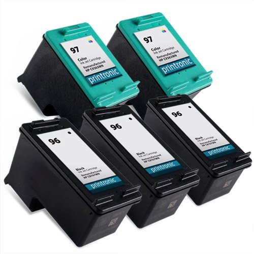 Printronic Remanufactured Ink Cartridge Replacement for HP 96 HP 97 (3 Black, 2 Color), Office Central