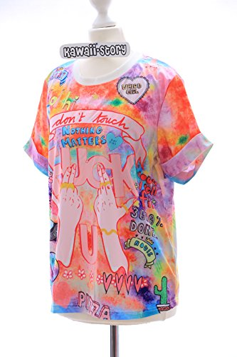 T-10 Lolita T-Shirt Funky Funny Hands Harajuku Japan Trend Fashion Kawaii-Story