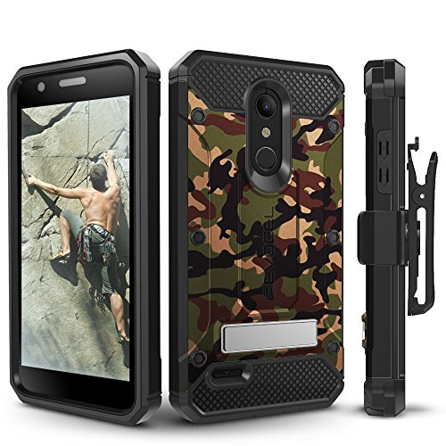 (LG K30 / LG Premier Pro/LG Harmony 2 Case, Evocel Heavy Duty Protection with Glass Screen Protector, Rugged Holster, and Kickstand, Explorer Series Pro - Camouflage)