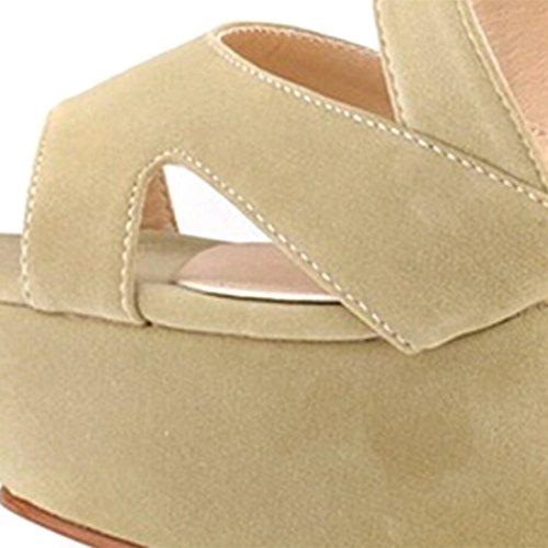 A Chaussure Talons Plate Hauts Talons Bout Abricot Ouvert Compensés forme Oasap Femme 5XwqEXR