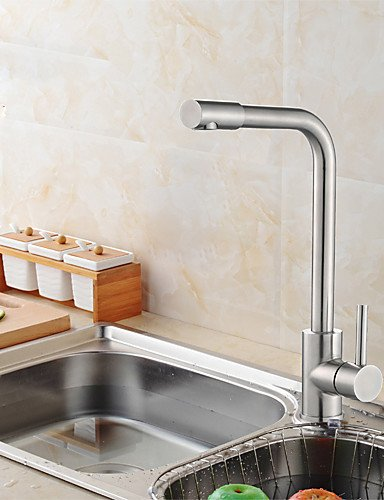 NWMTF 0.5 Deck Mounted Single Handle One Hole Stainless Steel Kitchen Faucet with Swivel Spout K40CF30SS