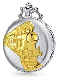 Bling Jewelry Silver and Gold Plated Steam Engine Train Simulated Quartz Mens Pocket Watch