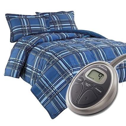 Sunbeam Electric Heated Comforter Set W Pillow Sham Full/Queen Blue Plaid