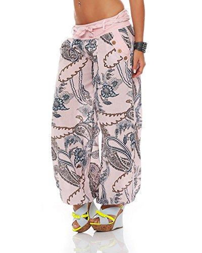 Pluder Été Sarouel Zarmexx Pantalons Pantalon Bloomers Dames De Coton Ornement Rose Imprimé Aladin Plage qxqSXp