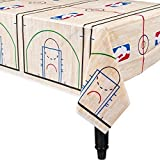 Amscan Sports and Tailgating Spalding Party Basketball Plastic Table Cover (4 Pieces), Blue/Red, 54 inches x 96 inches