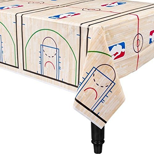 Amscan Sports and Tailgating Spalding Party Basketball Plastic Table Cover (4 Pieces), Blue/Red, 54 inches x 96 inches ()
