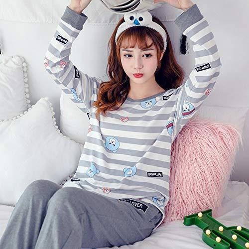 YJFPLSY Pajama Sets Women Cute Corgi Print French Bulldog 2 Pieces Set Long Sleeve Elastic Waist Cotton Lounges