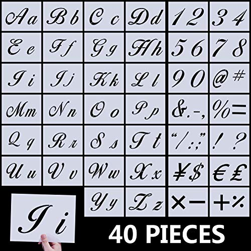 Letter Stencils for Painting on Wood, Kissbuty 40 Pcs Alphabet Stencils with Calligraphy Font Upper and Lowercase Letters Reusable Plastic Art Craft Templates with Numbers and Signs, 8.27