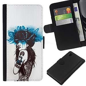 For Sony Xperia Z1 L39 Case , Smoking Girl Butterfly Tattoo - la tarjeta de Crédito Slots PU Funda de cuero Monedero caso cubierta de piel