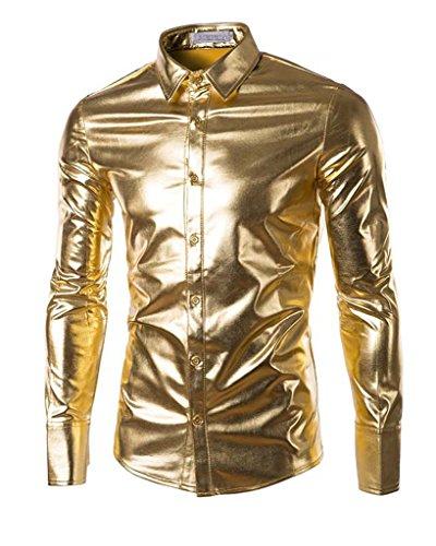 Mens Trend Nightclub Styles Metallic silver Button Down Shirts(Order 2 sizes larger)