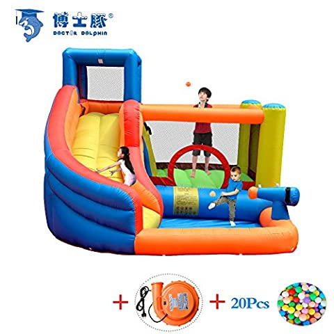 Doctor Dolphinin Inflatable Castle House Water Slide Bounce Bed Household Kids Toy with Blower and Ocean Balls