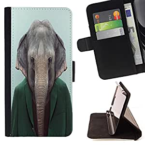 - Elephant - - Monedero PU titular de la tarjeta de cr?dito de cuero cubierta de la caja de la bolsa FOR Samsung Galaxy S6 Retro Candy