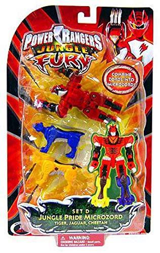 Power Rangers Jungle Fury Jungle Pride Microzord - Set D with Tiger Zord, Cheetah Zord and Jaguar Zord