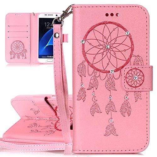 Custodia Galaxy S7 ISAKEN Cover Samsung Galaxy S7 con Strap, Elegante borsa Dente di leone Design in Pelle Sintetica Ecopelle PU Case Cover Protettiva Flip Portafoglio Case Cover Protezione Caso con S deamcatcher:rosa