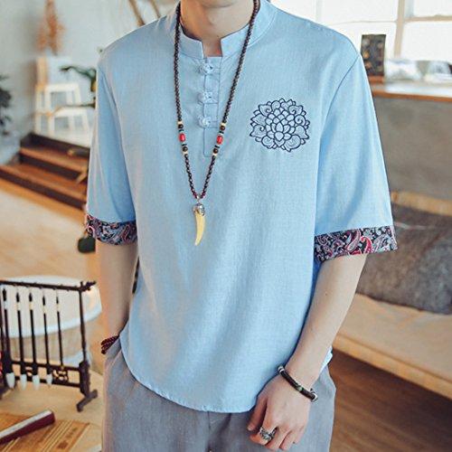 [XINXIKEJI] 和柄 メンズ tシャツ ティーしゃつ メンズ 半袖 ティシャツ メンズ 綿麻リネン おしゃれ トップス インナー ボーイズ 男の子 Tシャツ カジュアル シャツ ゴルフウェア 上着 通勤 通学 運動 日常用 M-5XL