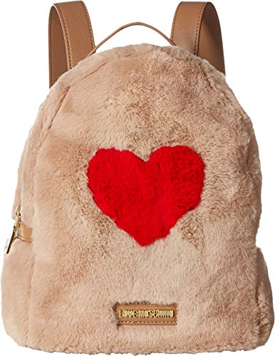 - LOVE Moschino Women's Faux Fur Backpack w/Heart Design Camel One Size