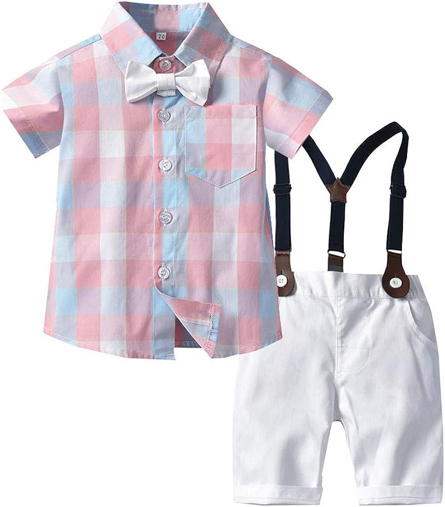 QinMMSPORTS niños Bebes Conjunto de Ropa Caballero Pajarita Camisa a Cuadros y Pantalones Cortos Trajes de Mono: Amazon.es: Ropa y accesorios