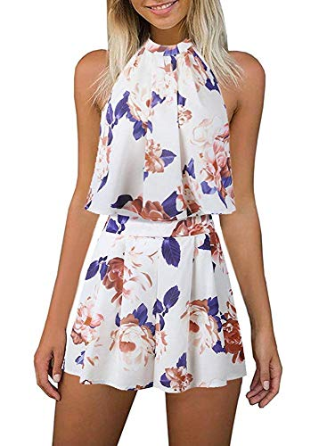 (Fadalo Women's Floral Printed Summer Dress Romper Jumpsuits Sleeveless Playsuit 2 Piece Outfits (Medium, Beige))
