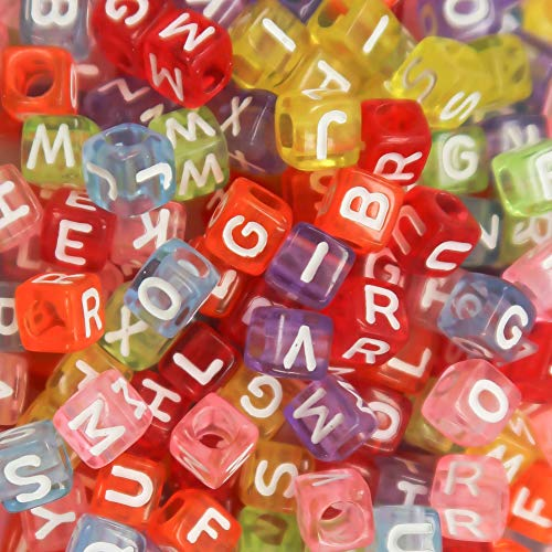 TOAOB 800Pcs 6mm Resin Letter Beads Mixed Assorted Alphabet Beads for DIY Bracelets Necklaces Children's Educational Toys Handmade Gift