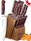 Knife Set, 15-Piece Kitchen Knife Set with Block Wooden, Manual Sharpening for Chef Knife Set, German Stainless Steel, Emojoy.