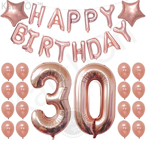 tions, Rose Gold – 30 and Happy Birthday Rose Gold Balloons Banner Great for 30th Birthday Party Supplies and Rose Gold Party Decorations, Latex and Star Mylar Rose Gold Balloons ()