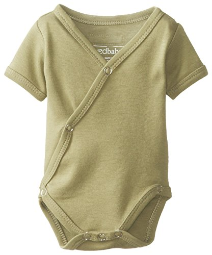 L'ovedbaby Unisex-Baby Organic Cotton Kimono Short Sleeve  Bodysuit, Sage, 0/3 Months by L'ovedbaby