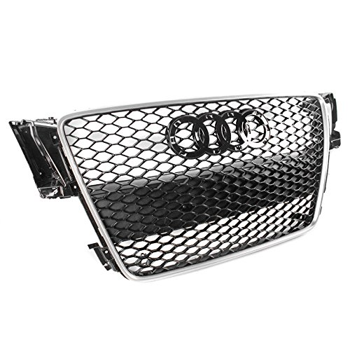 ZMAUTOPARTS For 2008-2012 Audi A5 / S5 B8 8T RS5 Style Honeycomb Mesh Hex Grille Gloss Black with Silver Trim