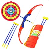 Kids Archery Bow and Arrow Toy Set Hunting Series Toy with 3 Suction Cup Arrows Target and Quiver for Outdoor Garden Fun Game