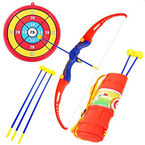 Kids Archery Bow and Arrow Toy Set Hunting Series Toy with 3 Suction Cup Arrows Target and Quiver for Outdoor Garden Fun Game by Magneticspace