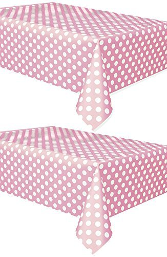 2 Pack Polka Dot Plastic Tablecloth, 108 x 54, Light Pink with White Dots - Mini Plastic Dots