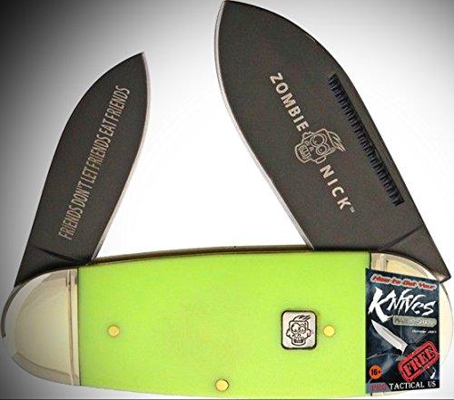 "Rough Rider Elite Knife 0111455 Zombie Nick Toenail Folding 4"" Folder Green Handle + free eBook by ProTactical'US"