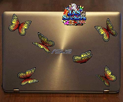 Yellow Monarch Small Vinyl Sticker Pack For Laptop Luggage Bicycle Bike Caravans Van Camper Trucks /& Boats JAS Stickers/® Butterfly Animal Car Decal ST00028YW/_SML