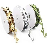 Topdo - Rollos de cinta de hojas doradas