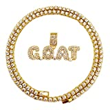 HH Bling Empire Hip Hop Iced Out Gold Faux Diamond Bubble Dripping Full Name Letters Tennis Chain 20 Inch (Goat)