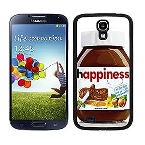 """Funda carcasa para Samsung Galaxy S4 diseño crema de chocolate """"Happiness"""" borde negro"""