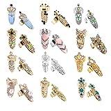 Finger Tip Nail Ring, 12 Pairs Nail Decoration Fashion Style Bowknot Crown Crystal Finger Nail Art Ring DIY Decoration 12 Patterns