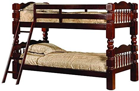 Better Home Products 100 Solid Wood BH227 Spindle BUNK Bed Tobacco
