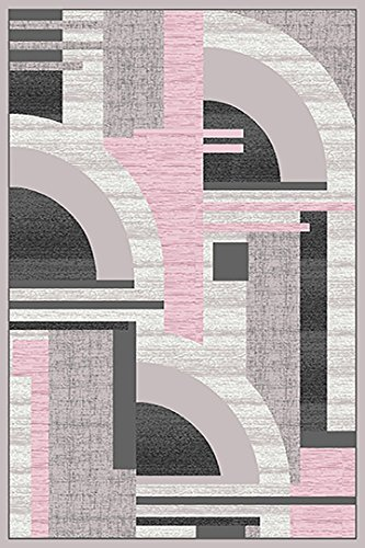 - PlanetRugs Premium 3D Effect Hand Carved Modern Abstract 5x8 5x7 Colorful Luxury Rug for Bedroom, Living Room, Dining Room Contemporary 5395 Gray Pink