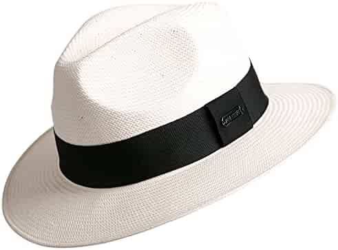 36f7f045 Janetshats Gambler Panama Sun Japanese Paper Straw Hat Fedora Hats for Men  White
